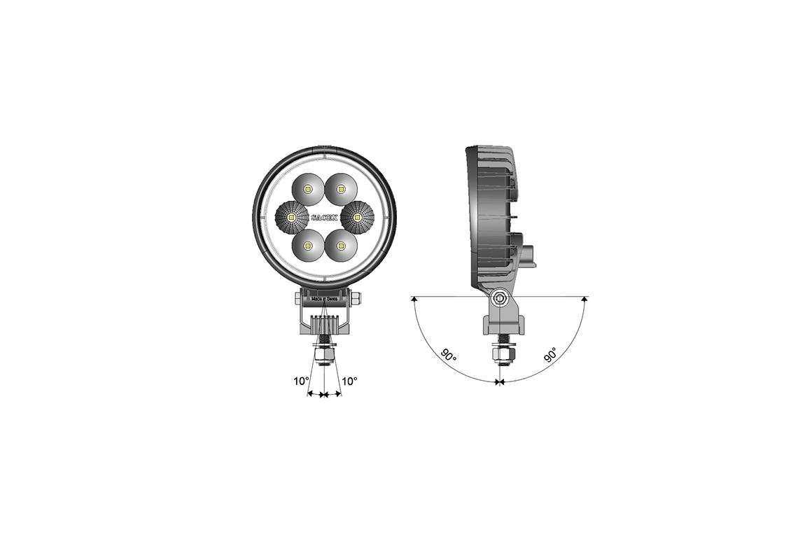 work light led round diam 120mm - dt connection
