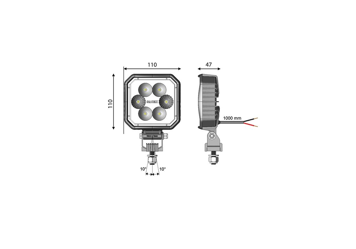work light led square 110x110mm - cable