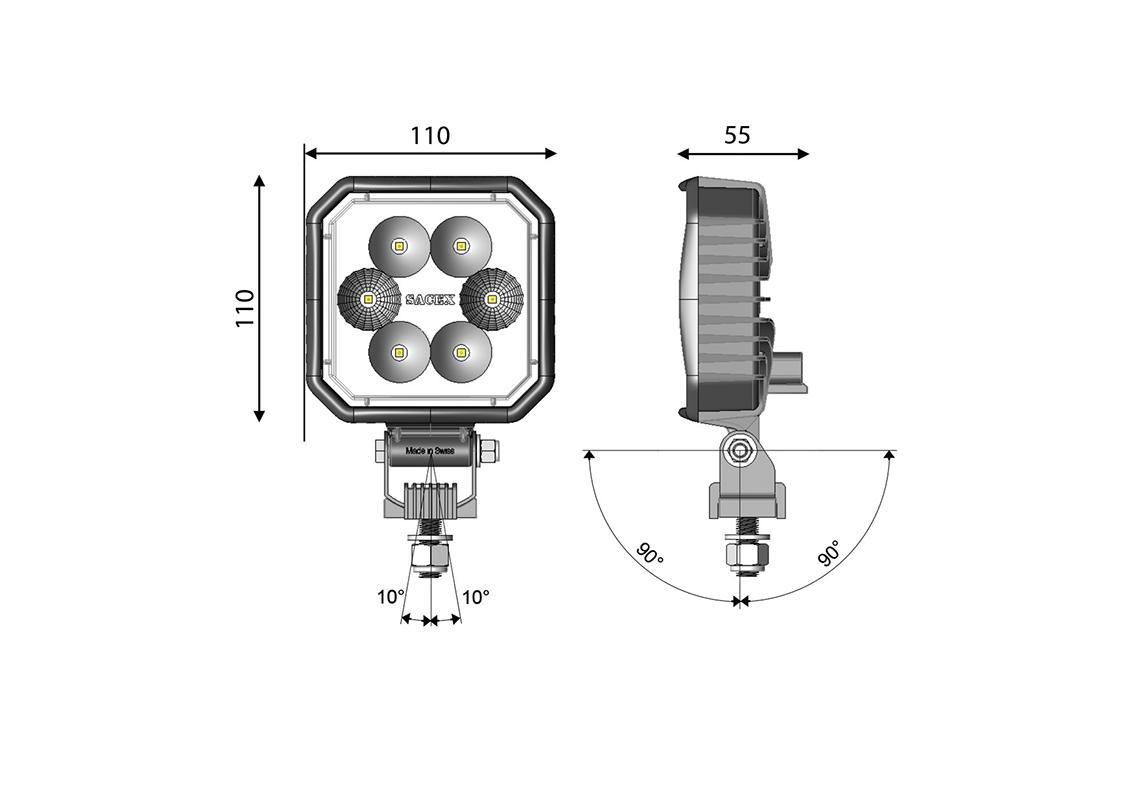 work light led square 110x110mm - dt connection