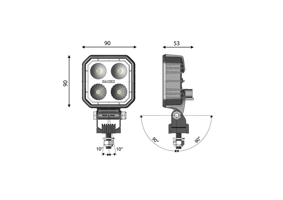 work light led square 90x90mm - dt connection