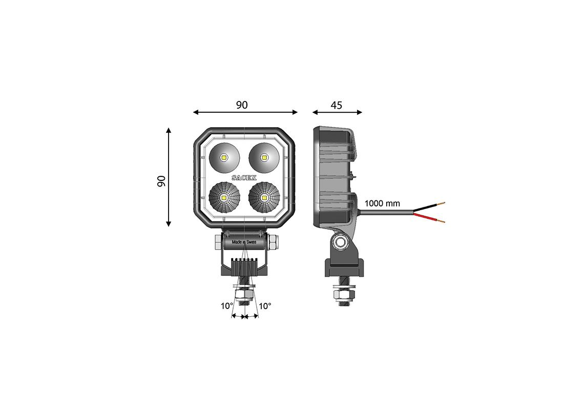 work light led square 90x90mm - cable - light amber